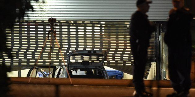 The car, driven into the car park of Merrylands police