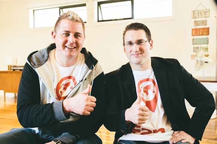 Joel Anderson, left, and Daniel Charlesworth are still working full time jobs while they develop Fan App, which hooks up like-minded people (but not in a romantic fashion).