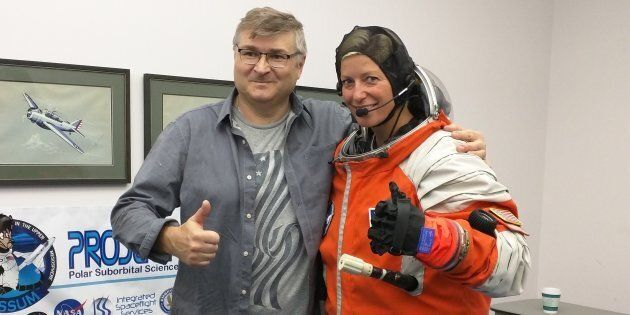 Sarah Jane Pell with Nikolay Moiseev, lead designer of the suborbital spacesuit she was testing while...