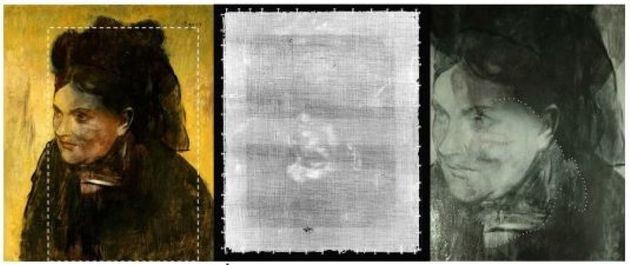 The original portrait, what's revealed in a scan, and an overlay showing the hidden portrait under the