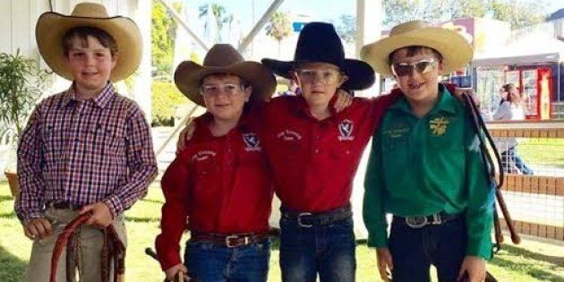 Some little cowboys enjoying the fun and games of