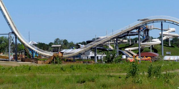 A general view of the Verrückt water slide at the Schlitterbahn Waterpark in Kansas City, Kansas, before its scheduled opening on July 10, 2014. The slide, at 168 feet 7 inches, is the world's tallest water slide, according to Guinness World Records.