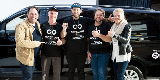 Winning entrepreneurs Code Camp Innovito were presented with the keys to their Vito van by Philip Dalidakis,...