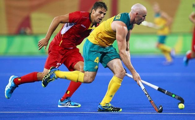 Australian hockey player Glenn Turner in action in