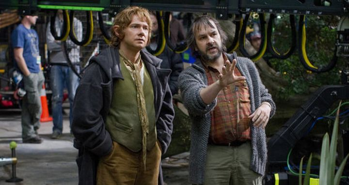 Director Peter Jackson, right, with Martin Freeman on the set of The Hobbit: An Unexpected Journey.