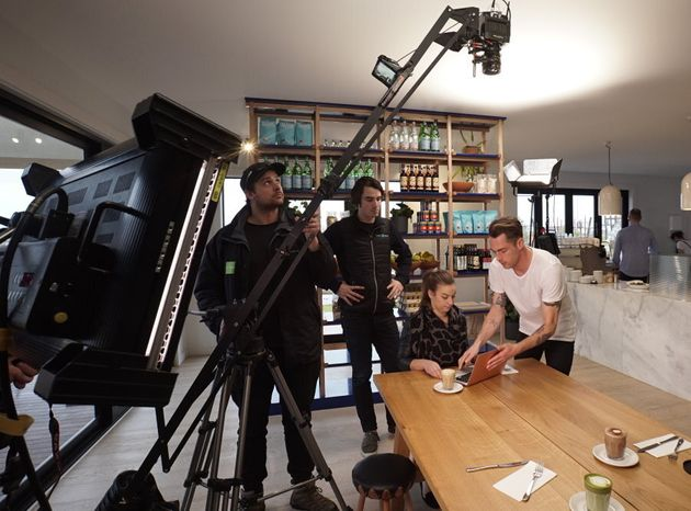The Visual Domain team on set creating a corporate