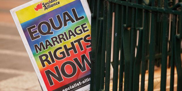 Protesters gathered outside Sydney Town Hall in support of marriage
