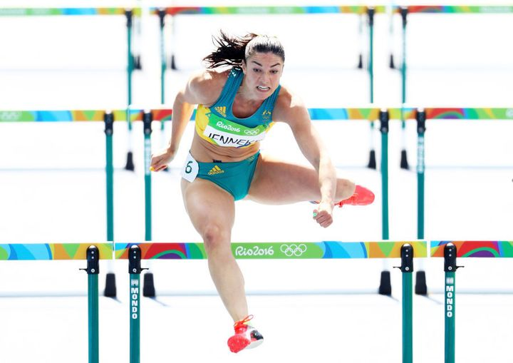 Despite that look of sheer determination Michelle Jenneke failed to progress past her heat. (Photo by Paul Gilham/Getty Images)
