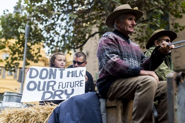 Dairy farmers protest in Melbourne in May, months before the dairy crisis became more