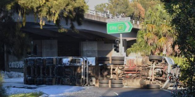A delicate clean-up operation is taking place after a fuel truck crashed in Sydney.