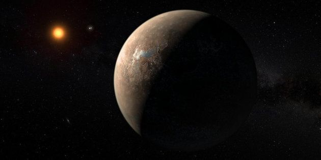 An artist'simpression of the planet Proxima b orbiting the red dwarf star Proxima Centauri the closest star to our solar system.