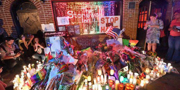 NEW YORK, NY - JUNE 13: Items Left in Front of Stonewall Inn In Remembrance of the Casualties of the Orlando Massacre on June 13, 2016 in New York City. (Photo by Prince Williams/WireImage)