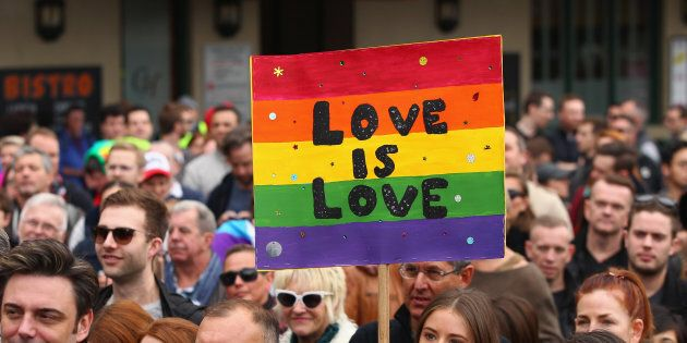 People march in Sydney in 2015 to call on the government to allow a free vote on Marriage Equality.