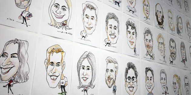 Rackspace display caricatures of their staff in the workplace.