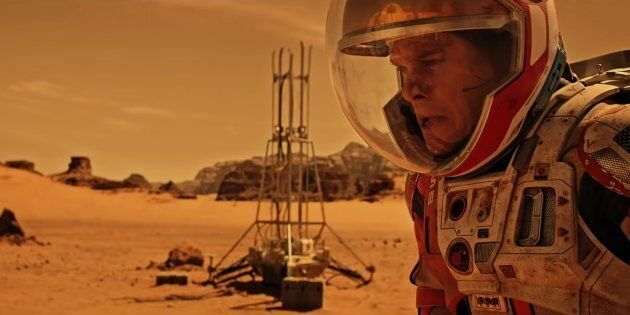 Actor Matt Damon in a scene form The Martian, a film about a man who survives after being left behind...