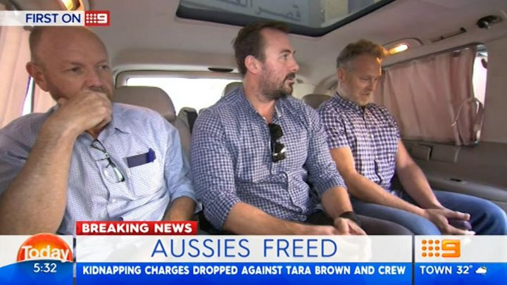 60 Minutes crew members Stephen Rice, camera man Ben Williamson and sound recordist David Ballment after being released from a Beirut jail. The trio shared a cell with Adam Whittington.