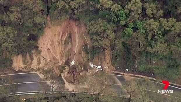 Part of the Great Ocean Road, Victoria, is closed due to a landslide caused by wild