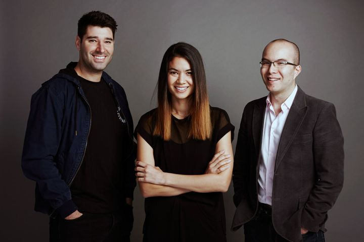 Canva co-founders Melanie Perkins, Cliff Obrecht and Cameron Adams.