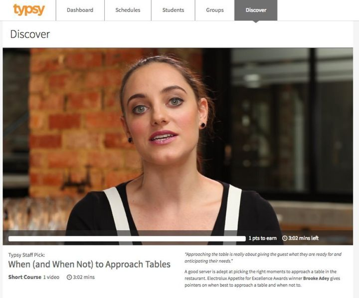 Typsy features online training courses to help those in the hospitality industry upskill.