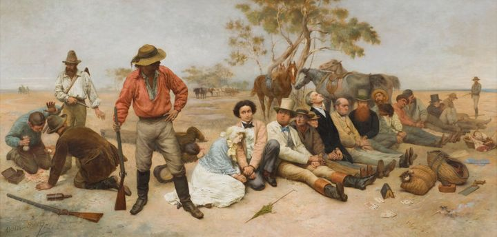 The bushrangers who were tried and executed are featured in this famous 1852 painting by William Strutt.