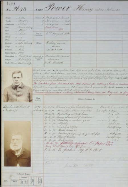 Harry Power's crime register.