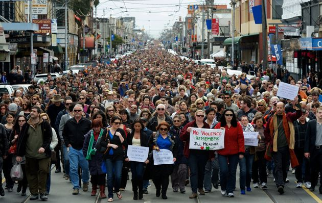 Tens of thousands of people walk along Sydney Road in Brunswick, Melbourne, in a peace march to commemorate...