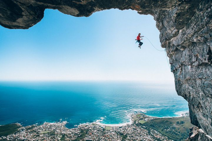Micky Wiswedel's shot of climber Jamie Smith mid-fall as he attempts a new route on Table Mountain, Cape Town.