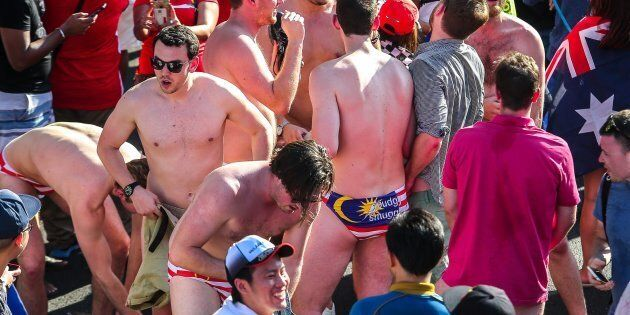 The Australian men stripping down to their flag-emblazoned