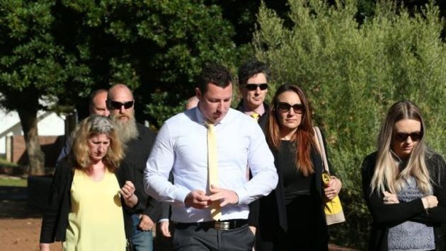 Aaron Leeson-Woolley, who was Scott's fiance, arriving at Griffith