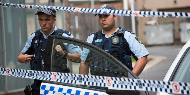 Police at the crime scene where two men where arrested at Adnum Lane, Bankstown on October 12,