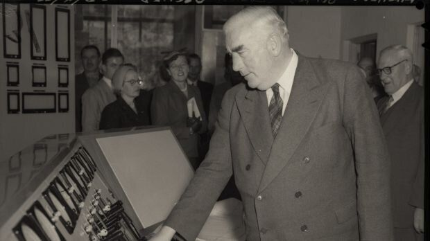 Prime Minister Robert Menzies opens Guthega Power Station, part of the Snowy River scheme