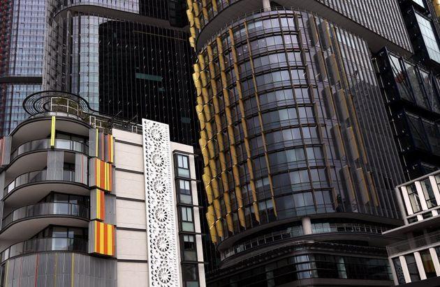 Splashes of colour adorn buildings in the developing area of Barangaroo in Sydney's inner-city on September...