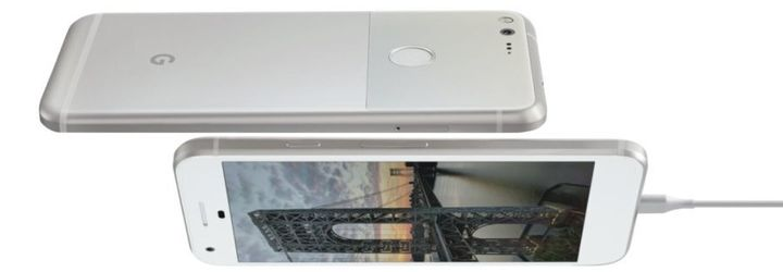 The front and back of the handset.