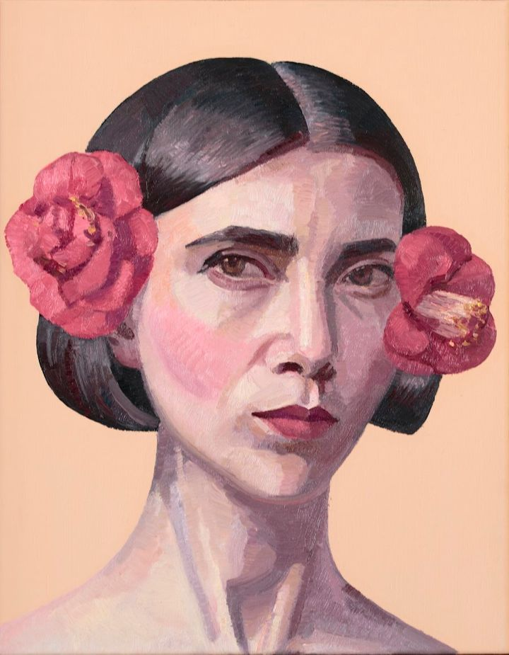 Self Portrait with Camellias by Yvette Coppersmith
