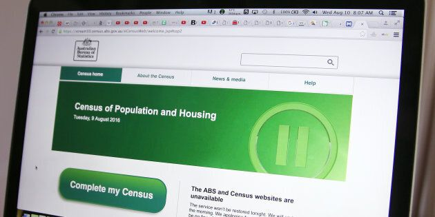 The Australian Bureau of Statistics' website on August 10, showing the census as