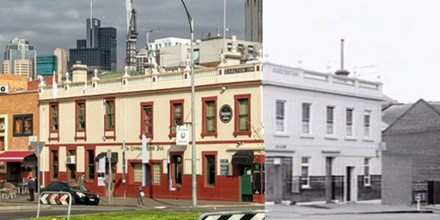 The Corkman Irish Pub in September 2016 and in 1957.
