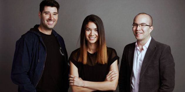 Canva co-founders Melanie Perkins, Cliff Obrecht and Cameron