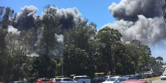 Billowing smoke can be seen coming at a massive fire in Revesby on Saturday morning, 5th