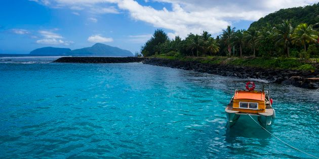 The little harbour of Tau Island, Manua Island group, American Samoa, South Pacific,