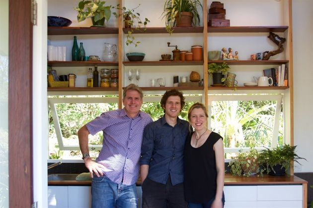 Greg Thornton, Lara Nobel and Andrew Carter in the tiny house's Brisbane