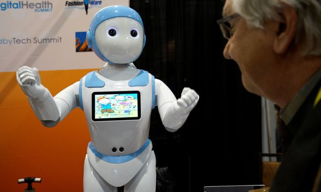 An Avatar iPal robot for children, eldercare and retail applications is on show at CES in Las Vegas in