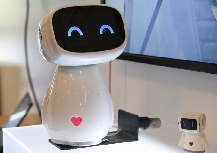 Baidu, a Chinese web compnay -- one of the largest in the world -- dispays the robot Xiaodu. It's an artificial intelligent robot which has access to the company's search engine database and can respond to voice commands.