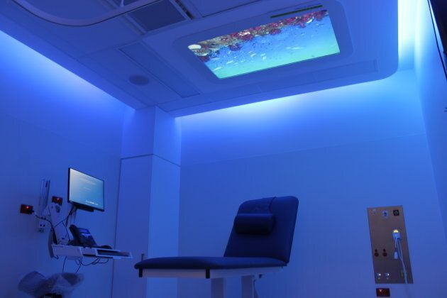 The technology transforms the clinical surroundings into a mesmerising display to alleviate the anxiety...