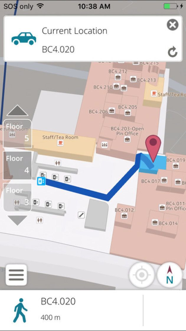 The app gives precise directions within the university.