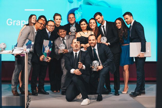 The Aussie team (largely appearing left) among the Global Change Award winners are poised to make their...
