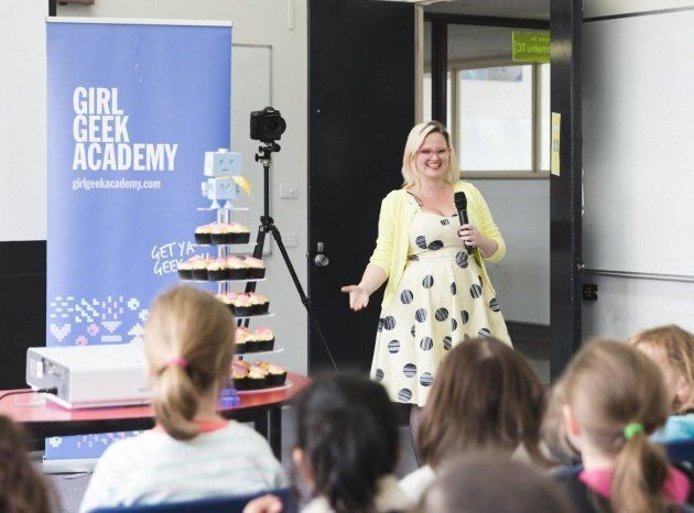 Girl Geek Academy CEO Sarah Moran chatting to the kids about