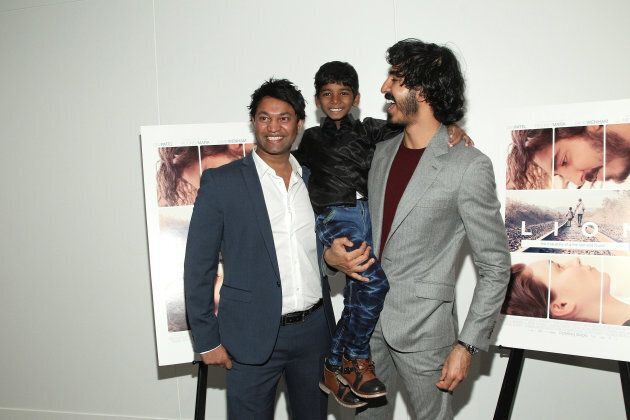 Saroo Brierley (left), with Sunny Pawar and Dev