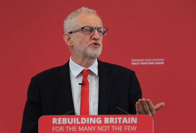 Labour leader Jeremy Corbyn at his party's European election campaign launch on