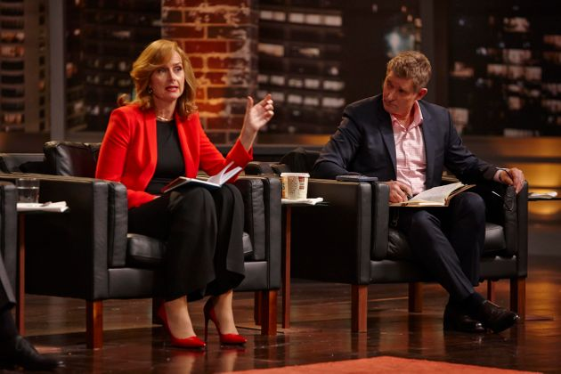 Naomi Simson on the set of The Shark Tank with Glen