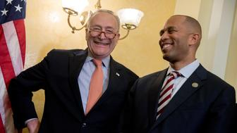 "Senate Minority Leader Sen. Chuck Schumer of N.Y., left, and Rep. Hakeem Jeffries, D-N.Y., right, smile together during a news conference on American labor on Capitol Hill in Washington, Wednesday, Nov. 1, 2017. Trump said on Twitter that the driver in Tuesday's attack ""came into our country through what is called the 'Diversity Visa Lottery Program,' a Chuck Schumer beauty"" — a reference to the Senate's Democratic leader. (AP Photo/Andrew Harnik)"